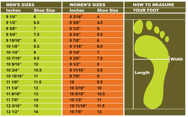 Foot length boot size guide