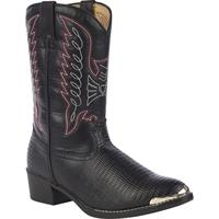 Durango Little Kid Black Lizard Print Western Boot